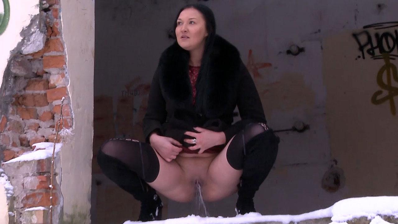 Squatting In Snow